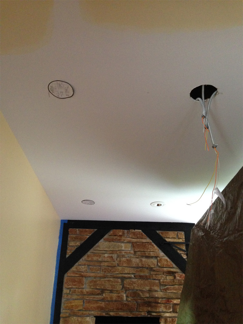 LED recessed cans being installed in Mount Prospect