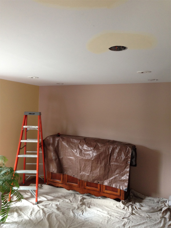 LED recessed lights being installed